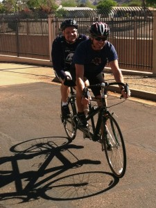 Mike Armstrong and Scoob on a Tandem
